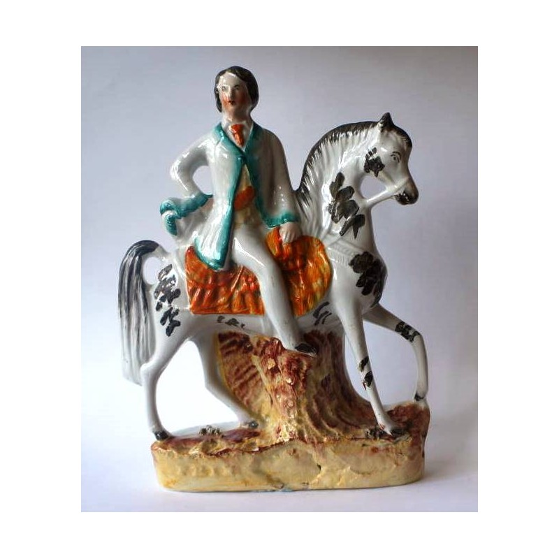 Staffordshire Pottery Young man on horseback