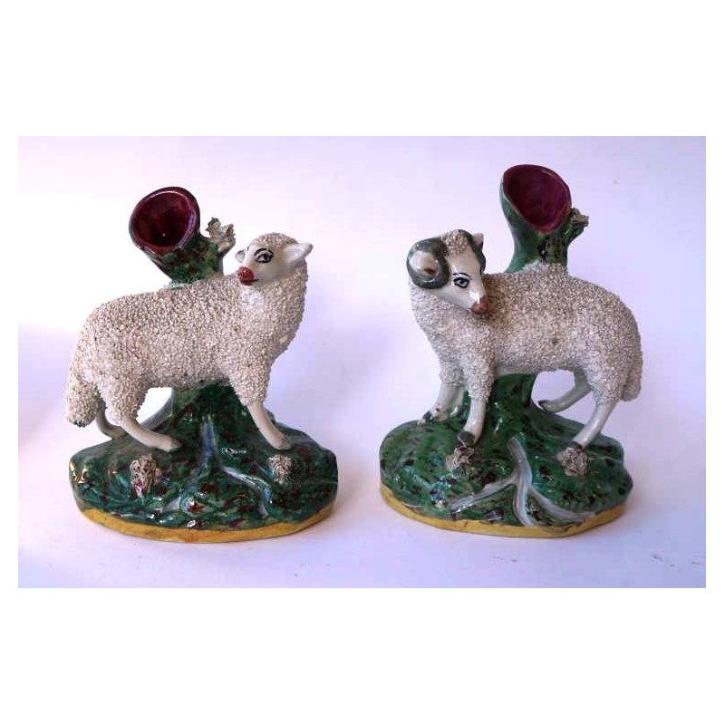 Staffordshire Pottery Pair Ewe and Ram