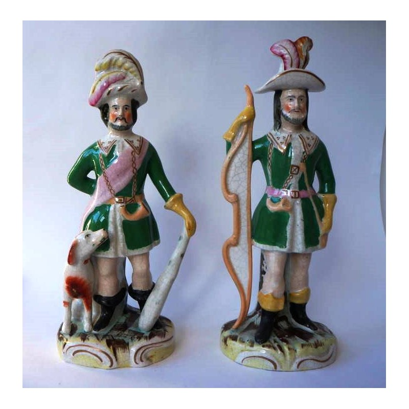 Staffordshire Pottery Pair Foresters
