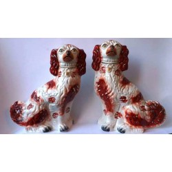 Staffordshire Pottery pair red patch Spaniels