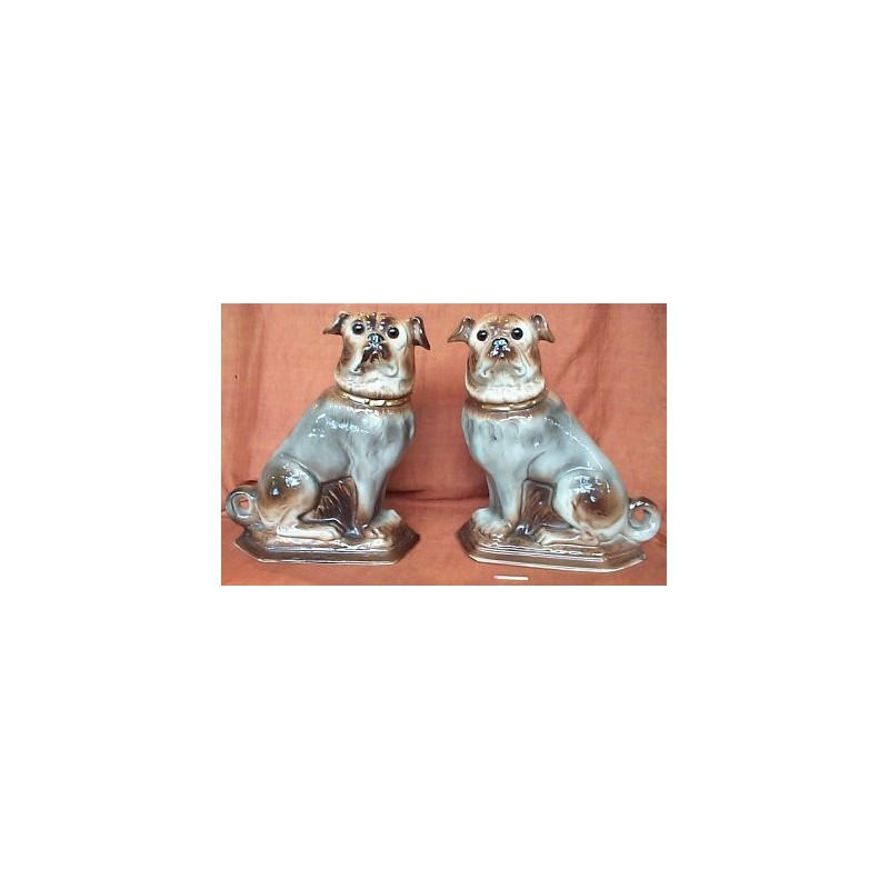 Pair Pug Dogs