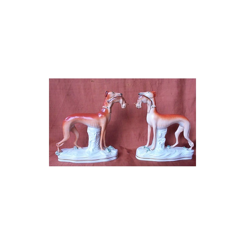 Pair of Standing Greyhounds