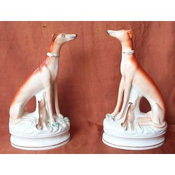 Pair Seated Greyhounds