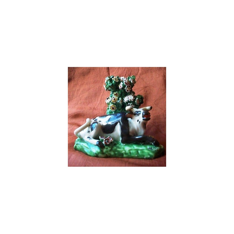 Recumbant Porcelain Cow