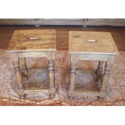 Victorian Stripped Pine Pair Stools