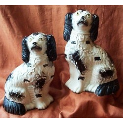 Pair black patch Spaniels