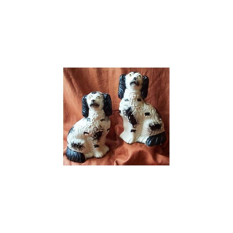 Pair black patch Spaniels