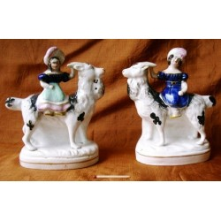 Staffordshire Pottery Pair children on goats