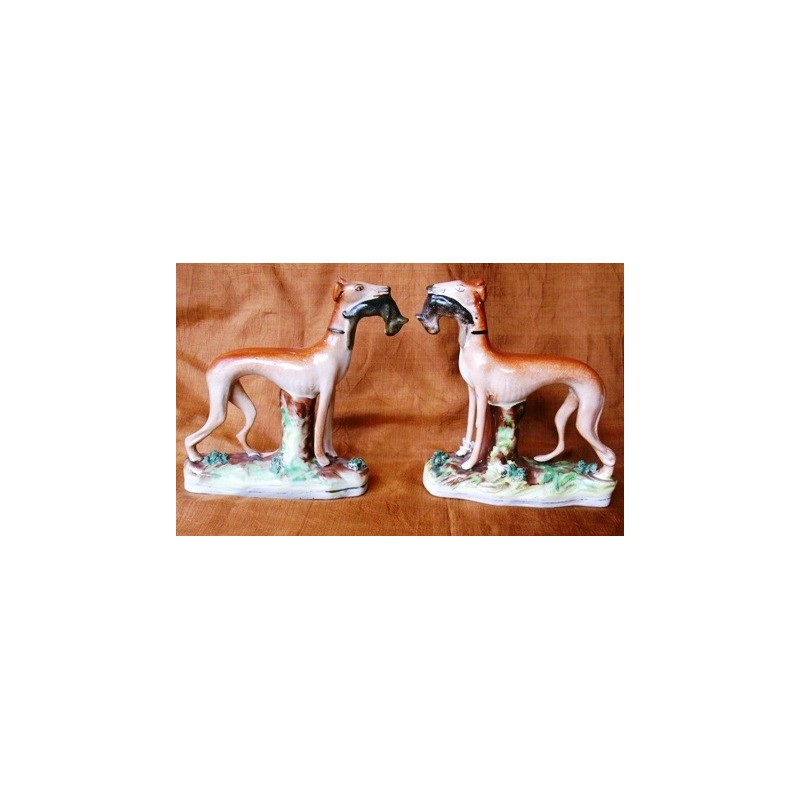 Pair standing Greyhounds