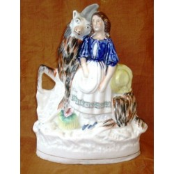 Staffordshire Pottery girl with goat