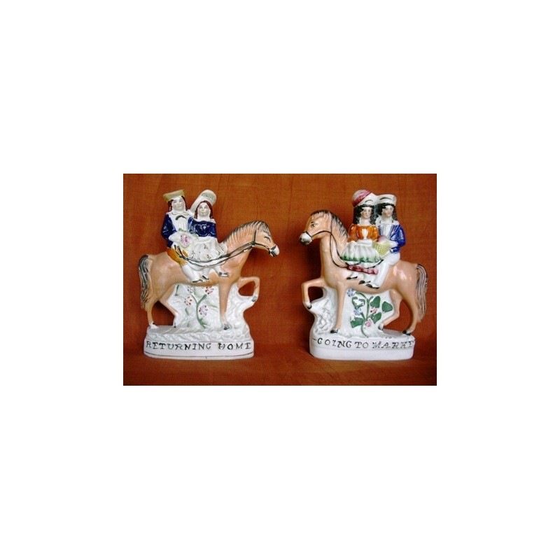 Staffordshire Pottery going to market and returning home pair