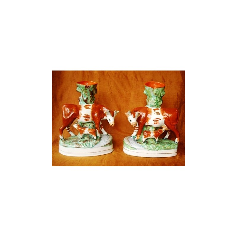 Pair cow and calf spill vases