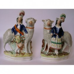 Pair of sheep (out of scale) with attendants
