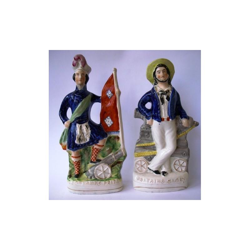 Staffordshire Pottery Pair Scotlands Pride & Englands Glory