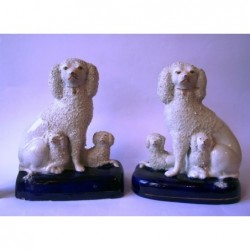 Pair Poodles on blue bases