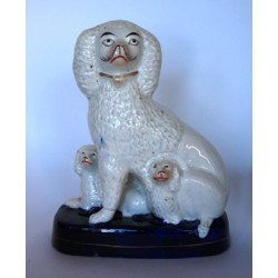 Staffordshire Pottery Poodle with pups