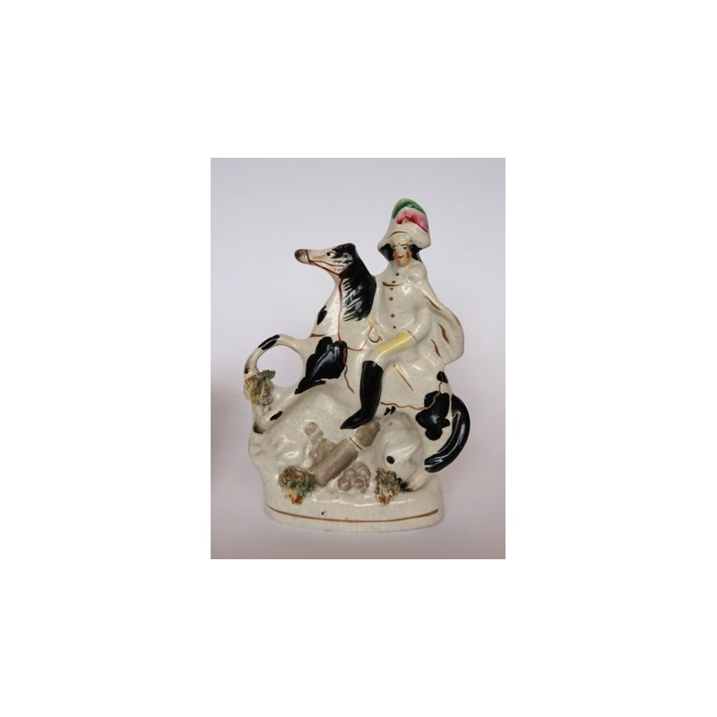 Staffordshire figure of Equestrian above a cannon