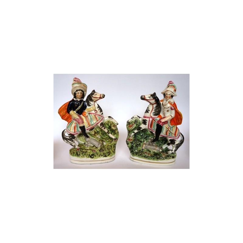 Staffordshire Pottery pair military figures