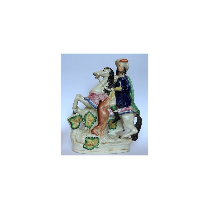 Staffordshire Pottery equestrian with stag