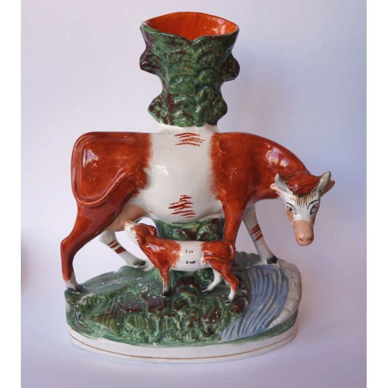 Staffordshire Pottery Cow and calf spill vase