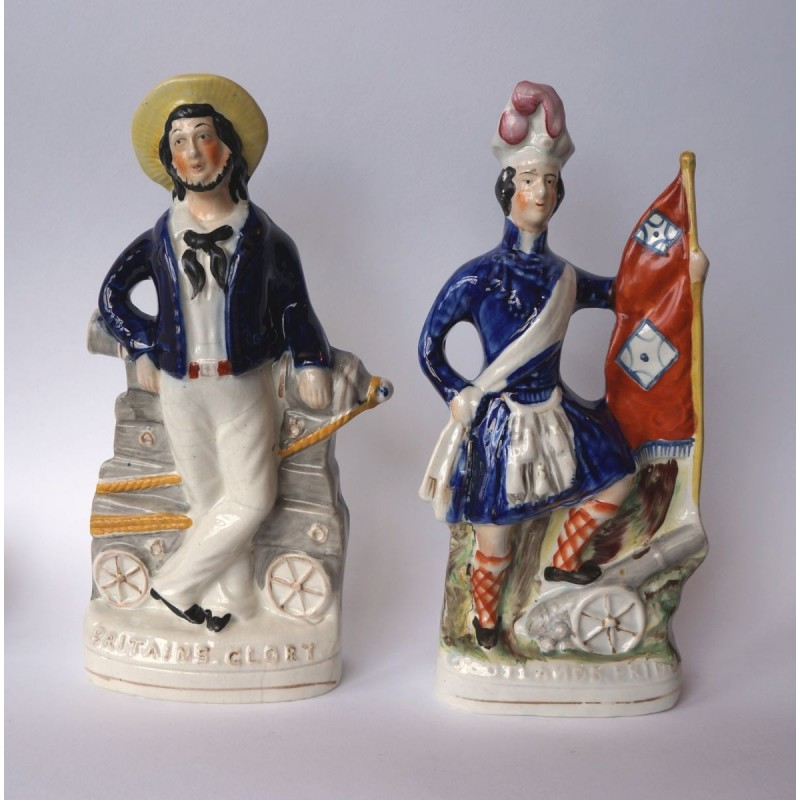 Staffordshire Pottery Pair Scotland's pride and England's Glory
