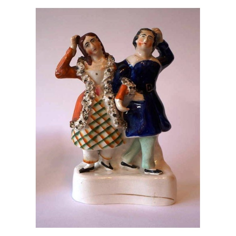 Staffordshire figure of Yourawkee and Peter Wilkins