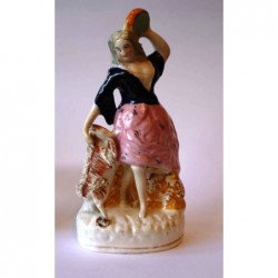 Staffordshire figure of Esmeralda with goat