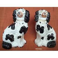 Black patch [underglaze] spaniels, pair