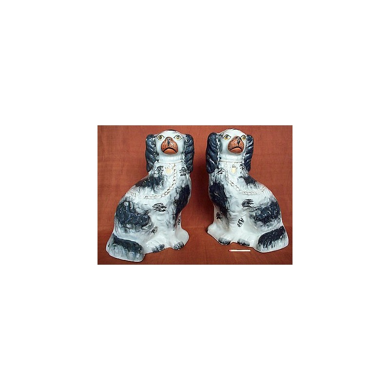 Black patch [overglaze] spaniels, pair