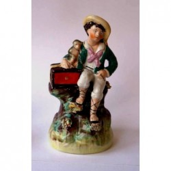Staffordshire Pottery young boy with monkey