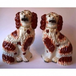 Pair red patch Spaniels
