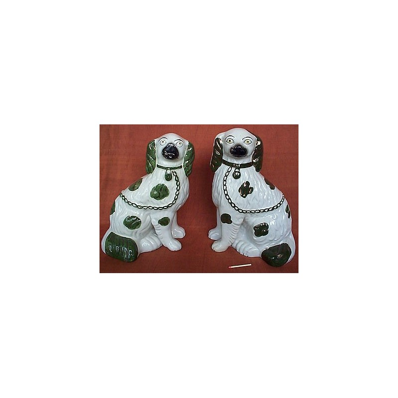 Green patch spaniels, pair
