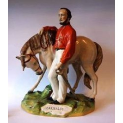 Staffordshire figure of Garibaldi beside his grey horse