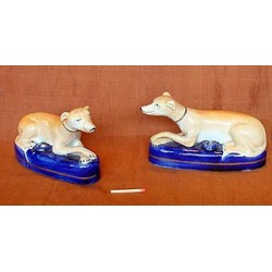Pair of Greyhound Inkwells