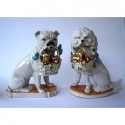Staffordshire Pottery Pair Poodle and Pug