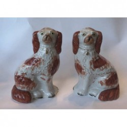 Pair Staffordshire red patch Spaniels