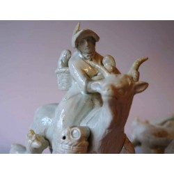 Welsh tailor and wife riding goats, fine Staffordshire pottery figures