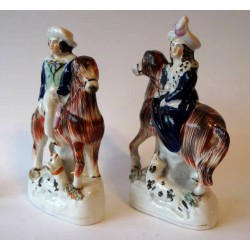 Beautiful pair of Staffordshire Equestrians, Victoria and groom